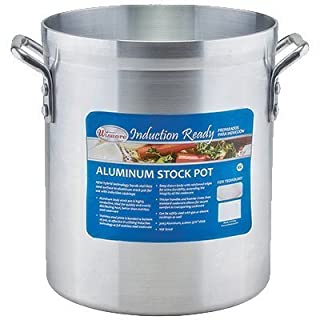 Winco AXSI-16, 16-Quart Induction Ready Aluminum Stock Pot with 0.1-Inch Stainless Steel Bottom by Winco