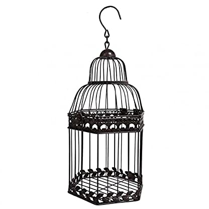 Small Bird Cage Antique or Aviary Decorative Hanging Hexagon Shape Iron Brown 16x16x36 cm 1