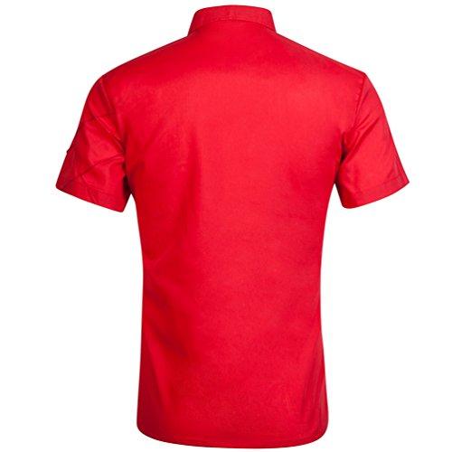 Sentao Uomo Moda Slim Fit Manica Corta Estate Camicia Casual Tops Rosso