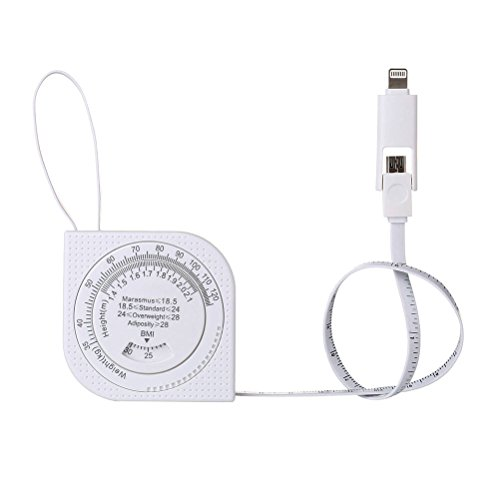 Lightning Android Port 3 in 1 Ladegerät Multifunktions Einziehbar Maßband USB 2.0 Data Sync Kabel mit 88cm, Mini Heimgebrauch Maßstab und BMI Funktionen für iPhone und Android Handy-Zubehör Winnerflag®