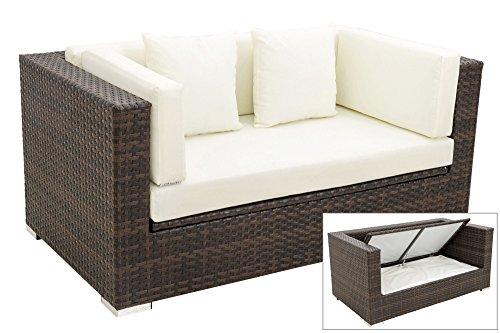 OUTFLEXX 2-Sitzer Sofa Lounge aus hochwertigem Polyrattan in braun marmoriert mit Kissenboxfunktion...