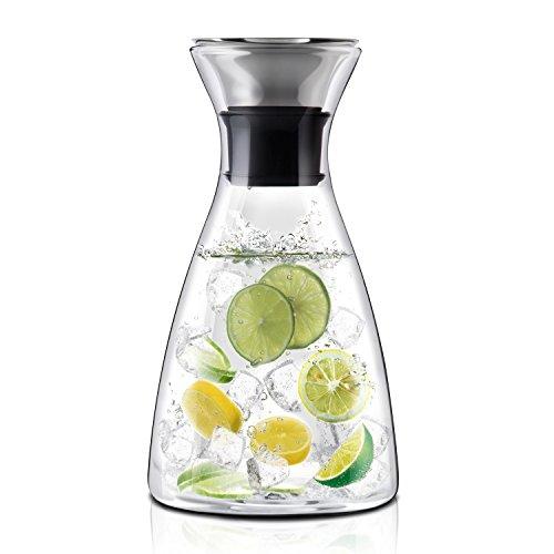 E-PRANCE Glaskaraffe Kühlkaraffe Wasserkaraffe,1 Liter, hochwertigen borosilikat glaskanne, Wasserkrug mit 304 Edelstahl, Silikon Deckel, Automatische Verschlussklappe,transparent