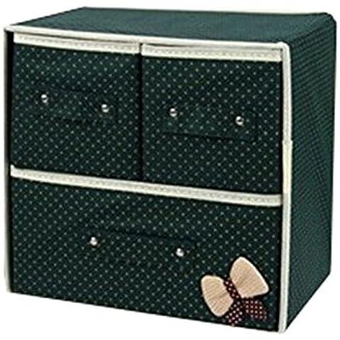 Highdas 1 Pz pieghevole Cassetto organizzatori, Biancheria intima Calze Cravatte Bra cassetto Organizzatore Storage Box con tre cassetti, scatole di immagazzinaggio pieghevole Como 'Armadio Organizzatore di divisori per cassetti verde scuro