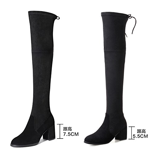FLYRCX Moda europea ladies tacco alto stivali con spesse scarpe di cotone con sub in autunno e in inverno la dimensione europea: 34-40 D