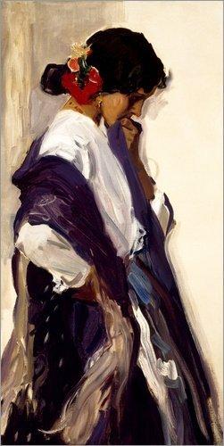Posterlounge Leinwandbild 90 x 180 cm: Gitana von Joaquin Sorolla y Bastida/akg-Images - fertiges Wandbild, Bild auf Keilrahmen, Fertigbild auf echter Leinwand, ()