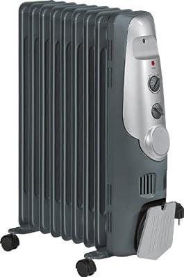 Radiator Standheizung mit Leichtlaufrollen (Konvektor mit starken 2000 Watt inkl. 9 Rippen, Ölradiator 3 Leistungsstufen, praktische Kabelaufwicklung)