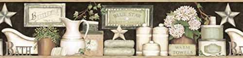 Chesapeake CTR63102B Martha Black Country Bath Wallpaper Border by Chesapeake -