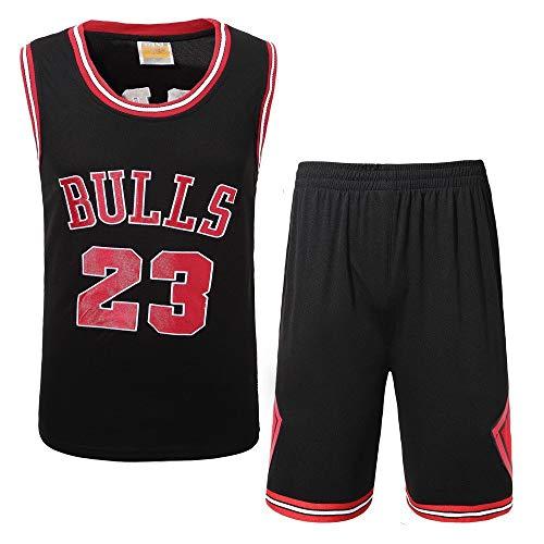 Männer Basketball Trikots Set - NBA Michael Jordan # 23 Chicago Bulls Basketball Uniform Sommer Besticktes Hemd Weste Shorts,black2XL(85~95kg) - Jordan Bestickt Shorts