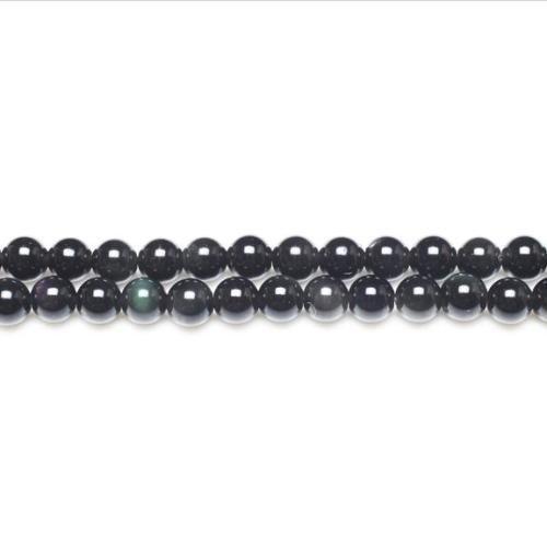 Strang 62+ Schwarz/Dunkelgrün Regenbogen Obsidian 6mm Rund Perlen - (GS11056-1) - Charming Beads (Runde Regenbogen-akzenten)