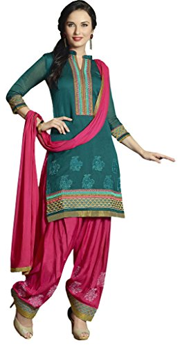 Turkish Green Colour Organza Silk Party Wear Thread Patch Work Embroidery Patiala...