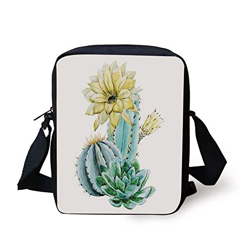 Cactus Decor,Vector Image with Watercolor Cactus with Spikes and Alluring Flowers Print,Blue and White Print Kids Crossbody Messenger Bag Purse