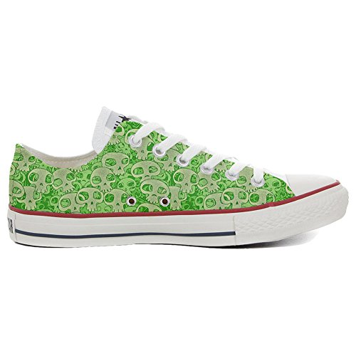 Converse All Star Chaussures Coutume (produit artisanal) Green Skull