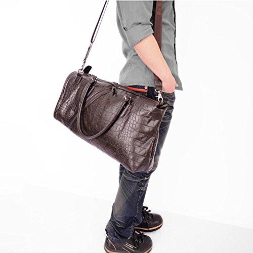 Everdoss Herren PU Leder Weekender groß Umhängetasche Handtasche Reisetasche Schultertasche Kuriertaschen mit Crocodilemuster Kaffee
