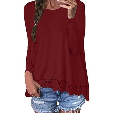 ZANZEA Mujeres Damas Oficina Elegante Encaje Blusa Camiseta Casual Cuello Redondo Mangas Largas