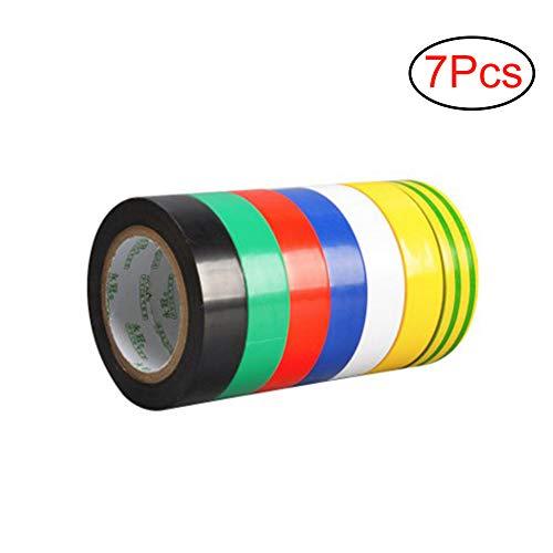 gotyou 7 Rollen PVC Isolierband Klebeband Tape,Isolierbänder Elektriker Klebeband Farbigen Band,zur Isolierung von Kabeln,7 Farben(Größe 17mm x 9m)