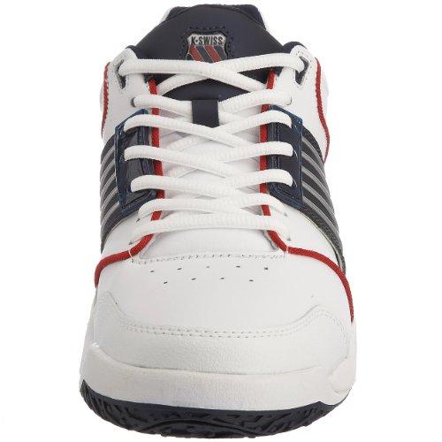 K-Swiss Accomplish LS Omni, Chaussures tennis homme Blanc (Blanc/Bleu Marine/Rouge)