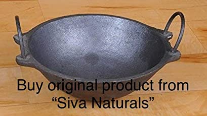 Siva Naturals Traditional Cast Iron Kadai - Small Size (7 Inches Dia, 1.2 Kg Weight)