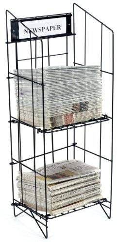 Displays2go Newspaper Rack with Includes a 14 x 4.5 Inches Sign Frame, Black Coated Steel Wire, Floor Standing (NRWRCB2T) by - Rack Wire Frame