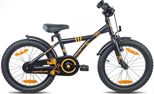 Prometheus Bicicletta per bambini e bambine dai 6 anni nei colori Nero Opaco e Arancione da 18 pollici con freno a V in alluminio e contropedale – BMX da 18″ modello 2019 - 3