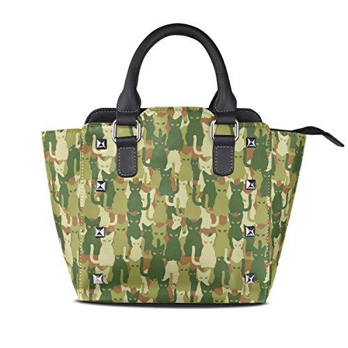 HANILUC Abnehmbare mode trend damen handtasche umhängetasche umhängetasche,Katze Kätzchen Silhouetten Dschungel Print -
