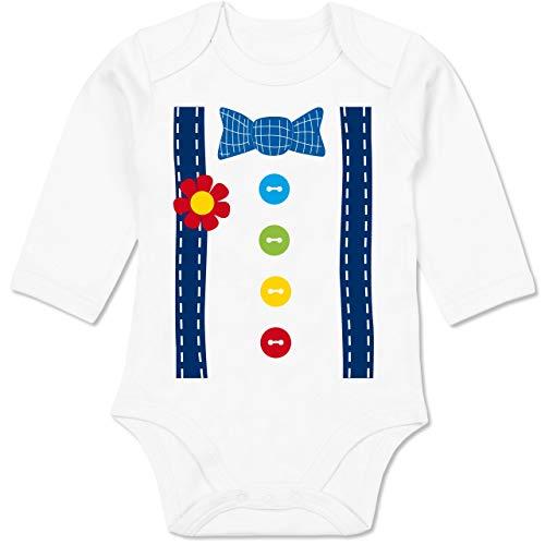 Baby Joker Kostüm - Shirtracer Karneval und Fasching Baby - Clown Kostüm blau - 6-12 Monate - Weiß - BZ30 - Baby Body Langarm