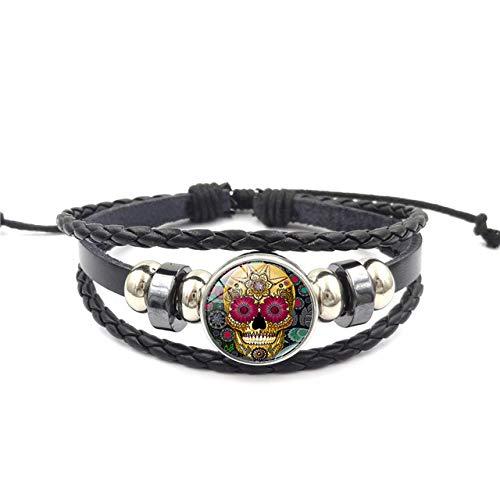 Schädel Herren Zucker Kostüm - Armbänder Für Herren Zucker Schädel Armbänder Handgewebt Leder Armband Punk Stil Armband Für Frauen Männer Geschenk