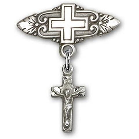 Icecarats Diseñador De Joyas Esterlinas Crucifijo De Plata Pin Insignia Encanto Con La Cruz De 7/8 X