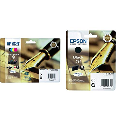 Epson C13T16264010 Cartuccia d'Inchiostro Multipack 16, con Amazon Dash Replenishment Ready & 16 Serie Penna, Cartuccia Originale Getto d'Inchiostro DURABrite Ultra, Formato Standard, Nero