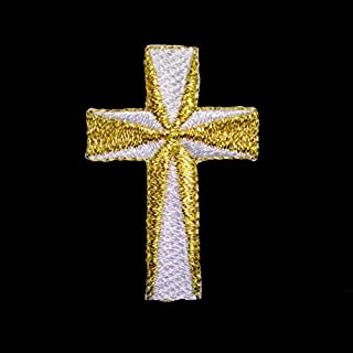 Altotux Embroidered Cross in White Metallic Silver Gold Iron on Patch Applique By 2 Pieces (Gold) by Altotux