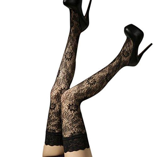 Strümpfe Damen Kolylong®Frauen Reizvoller Netzstrümpfe Elastische Strumpfhose Strümpfe über Knie Spitze Oberschenkel Stockings (C)