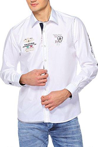 M.Conte Men Shirt Camicia Manica lunga Casual Cotone da Uomo Leonardo white, Size XXL
