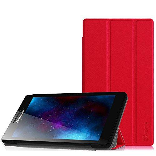 Fintie Lenovo Tab 2 A7-10 Hülle Case - ultra-schlank superleicht Ständer SlimShell Cover Schutzhülle Etui Tasche für Lenovo Tab 2 A7-10 17,8 cm (7 Zoll IPS) Tablet, Rot