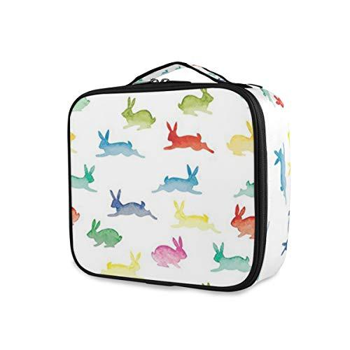 SUGARHE Nette Kaninchen in den verschiedenen Haltungen, die laufende Häschen fröhlichen Ostern Malerpinsel springen,Kosmetik Reise Kulturbeutel Täschchen mit Reißverschluss