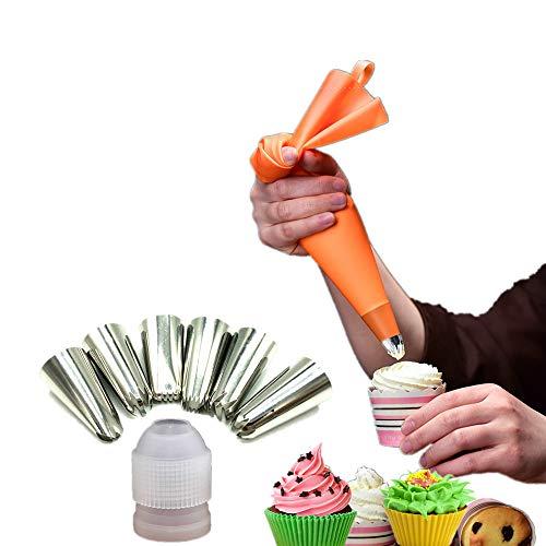 Spritztüllen Set Basic I 6 Große Tüllen - Silikon Spritzbeutel 32 cm - Adapter I Professionelle Edelstahl Aufsätze für Kuchen, Torten, Keksen-Dekoration. Spülmaschinengeeignet (6), Bonus 1 Reinigung