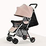 baby stroller Ultraleichter Tragbarer Kinderkinderwagenkindersitzen Lüge Sommer und Sommer Einfacher Faltender Babybabyvierrad-Regenschirm,3