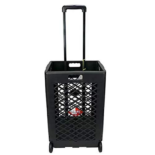 QIANGDA-Handwagen Einkaufstrolley Faltbar Einkaufswagen Kunststoff Tragbar Leicht Grosse Kapazität Teleskopstange, 43,5 X 39 X 100cm, 2 Farben (Farbe : SCHWARZ)