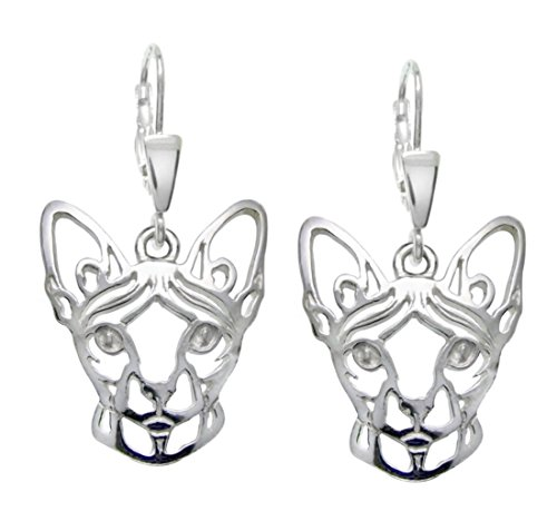 Silver paws - Stribrne tlapky Sphynx chat Argent Sterling Boucles D'Oreilles