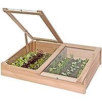 Frühbeetkasten aus Lärchen-Holz Mini-Gewächshaus 119x80x30 cm von Gartenpirat®