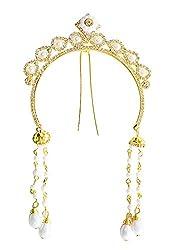 AASHYA MAYRO BAAHUBALI INSPIRED CZ DIAMOND AND PEARLS GOLDEN HAIR / BUN CLIP TIARA Wedding Party Hair Clip Hair Accessories
