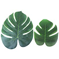 Aoutacc 24 Pack Tropical Leaves Palm Simulation Imitation Leaf Hawaiian Luau Party Jungle Beach Theme for Party Decorations Supplies(12Pack Large + 12Pack Small)