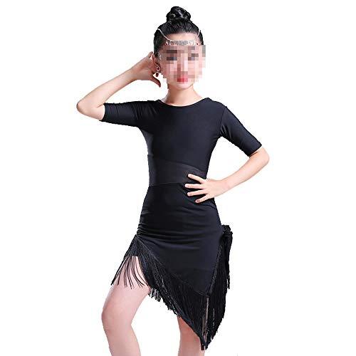 Cvbndfe Weich Tanzkleider Pailletten Quaste Rock Latin Dance Kostüme für Kinder (Farbe : Schwarz, Größe : 120cm)