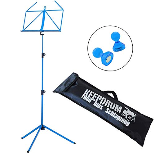 K&M 100/1 Notenständer Blau mit Tasche + Notenständer Magnete Blau 2 Stk