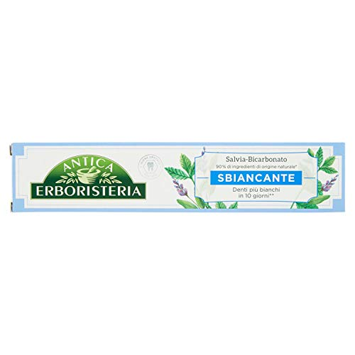 Antica erboristeria, dentifricio sbiancante, dentifricio antimacchia con ingredienti naturali, gusto salvia e bicarbonato, 1x75 ml
