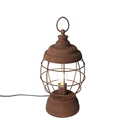 QAZQA Landhaus/Vintage/Rustikal Ländliche Tischleuchte/Tischlampe/Lampe/Leuchte rost - Lentera/Innenbeleuchtung/Wohnzimmerlampe/Schlafzimmer Metall Rund LED geeignet E27 Max. 1 x 40 Wa