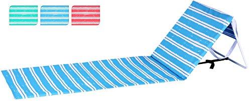 Strandmatte Stripe mit Lehne 158x52 faltbar - Strandliege Strandstuhl Liegematte rot gestreift