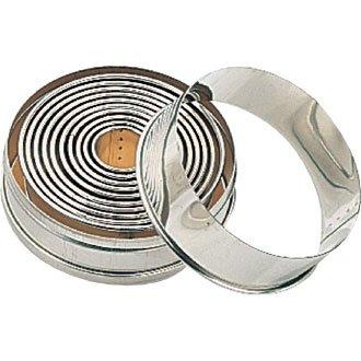 Runde Ausstechformen für Teig. Set aus 11 Teilen, von 2.5cm - 9,5 cm.