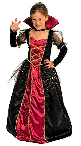 Mädchen Zubehör Vampir Kostüm - Magicoo Elegante Vampirin - Vampir Kostüm Kinder Mädchen rot-schwarz-Gold - Halloween Vampirkostüm Kind Gr. 110 bis 140 (146/152)
