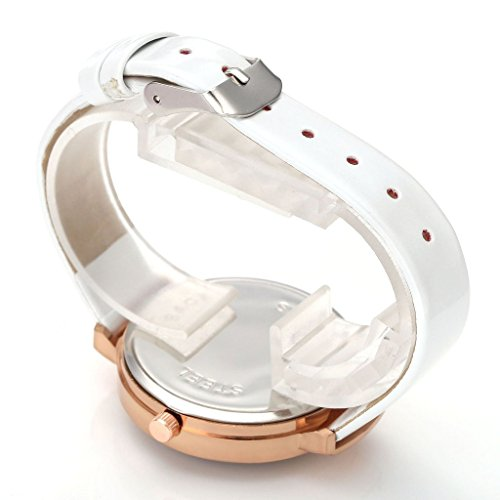 JSDDE Uhren,Elegante Damen Armbanduhr Braunglas Glitzer Dial XS Slim PU Leder-Band Ladies Dress Analog Quarzuhr,Weiss - 3