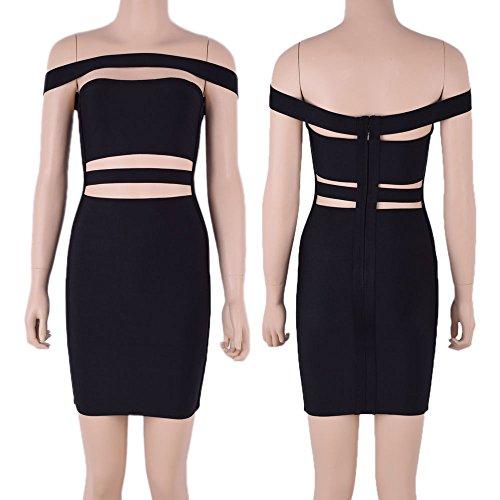 HLBandage Women's Sexy Off the Shoulder Cut Off Slash Neck Bodycon Bandage Dress Nero