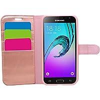 Samrick Etui portefeuille avec Carte de Crédit/D'affaire carte titulaire en Cuir pour Galaxy J3 (2016) Rose Or